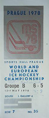 TICKET Eishockey WM 13.5.1978 USA - Deutschland in Prag