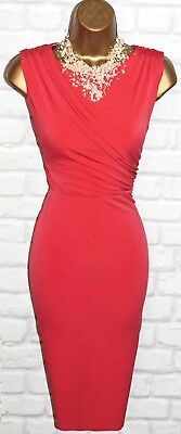 Coast Exquisite Red Orange Wiggle Cocktail Dress Uk 18  Occasion Wedding Party