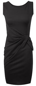 Womens Big Bow Detail Pleated Ponte Dress Size UK 8 - 14 ladies party or casual