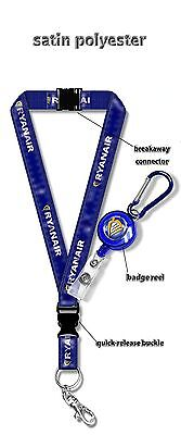 Ryanair Satin Polyester Lanyard   Badge Reel