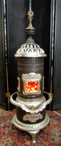 Antique George M. Clark cast iorn chrome plated parlor stove No. 430 VERY NICE!