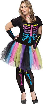 rwachsene Damen Verkleidung Tutu Übergröße Skelett (Funky Skelett Kostüm)