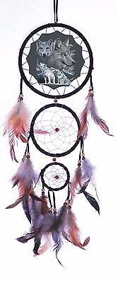 White Wolf Wolves Trio Dream Catcher Western Decor Feather Wall Hanging Decor
