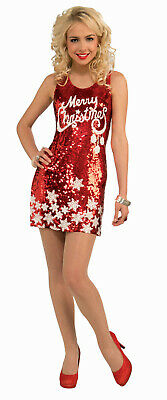 Plus Size Womens Christmas Costumes (Women's Plus Size Racy Red Sequin Merry Christmas Party Costume Dress XL)