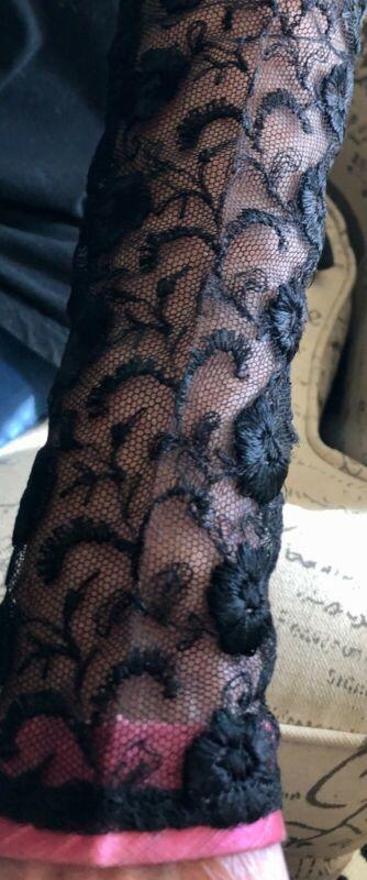 VINTAGE ANTIQUE EDWARDIAN BLACK EMBROIDERED NET LACE SLEEVES FOR DRESS