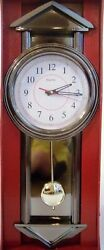 GRANDFATHER PENDULUM BATTERY WALL CLOCK W/CHIMES, 34 Long