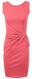 New Womens Plus Size Ponte Side Bow Detail Sleeveless Dress 8-22
