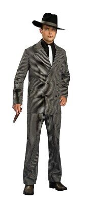 Mens Fancy Dress Gangster Suit Costume 20s 1920s Pinstripe Outfit - 2 Sizes