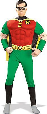 Deluxe Robin Adult Costume Muscle Chest Superhero Batman Adult Size - Batman Costume Adult Small