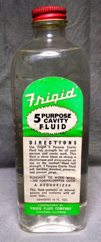 Vintage Unopened Frigid 5 P. Cavity Fluid Embalming Fluid Bottle Embossed Dodge