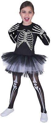 Skeleton Skelett Suzy Halloween Kinder Karneval Fasching Kostüm 128-152 (Skelett Halloween Kostüme Kinder)