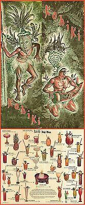 """1970's KAHIKI TIKI POLYNESIAN CLUB COLUMBUS OHIO DRINK MENU 11""""x28"""" GREAT REPRO!"""