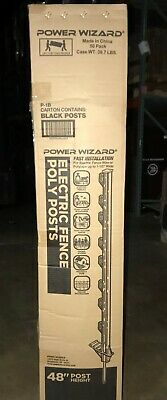 50pk Step In Electric Fence Poly Post 4 Black Heavy Duty