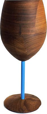 David Rasmussen Design Dark Walnut Wooden WUD Wine Glass with Blue Stem