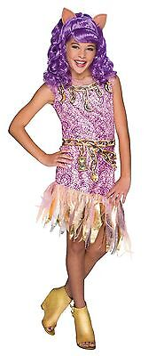Girls Deluxe Clawdeen Wolf Costume Monster High Fancy Dress Clawdean S M L Child