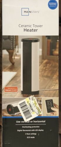 Mainstays Baseboard Tower Heater Black/White NTH15-17BR Vert