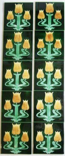 Stylish Set of 10 Stovax TULIP Hand Piped Art Nouveau Fireplace Tiles Birmingham
