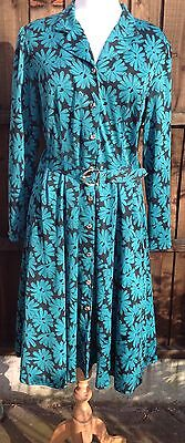 Vintage Swing Tea Dress Laure of Leicester Beautiful Floral Print Size 14 VGC