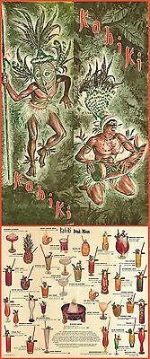 """1970s KAHIKI TIKI POLYNESIAN CLUB COLUMBUS OHIO DRINK MENU 8.5""""x22"""" GREAT REPRO!"""