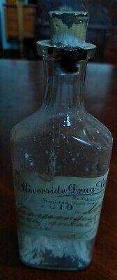 Riverside Drug Store Trinidad Paper Label Sweet Oil Colorado Bottle 5 (Riverside Stores)