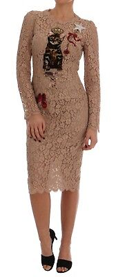 NEW $6000 DOLCE & GABBANA Dress Crystal Bengal Cat Crystal Lace Gown IT40/US6 /S