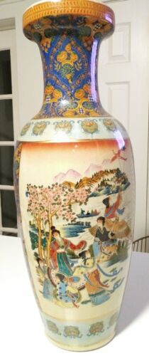 "VINTAGE CHINESE PORCELAIN FLOOR VASE 24"" HAND PAINTED"