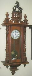 Antique Kienzle German Vienna Regulator clock, runs and chimes, horse topper