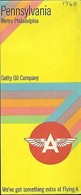 1968 Getty Oil Flying A Road Map Pennsylvania Harrisburg Philadelphia Pittsburgh
