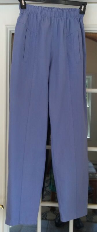 Vintage CHEROKEE WOMENS ELASTIC PULL-ON Violet COTTON PANTS Size 10 USA MADE