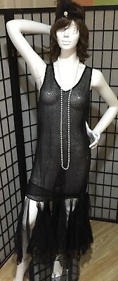 1920 Womens Gangster Costume (GANGSTER ERA ROARING 1920'S FLAPPER SEQUIN PARTY POLKA DOT-3 PC COSTUME-BLACK)