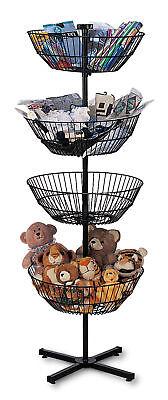 4 Basket Display Wire Floor Tier Spinner Rack Dump Bin Retail Merchandising 63
