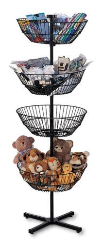 """4 Basket Display Wire Floor Tier Spinner Rack Dump Bin Retail Merchandising 63"""""""