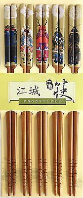 10PC (5 pairs) Bamboo Samurai  design Chopsticks 9 inch long Best Gift under $10