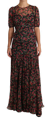 DOLCE & GABBANA Dress Black Floral Roses A-Line Shift Gown IT38/US4/XS RRP $4500