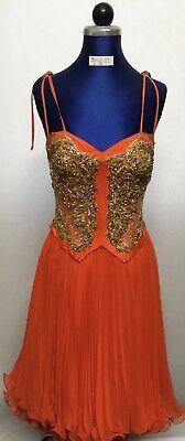 Kostüm Coktailkleid Gr. 34/36 orangefa. Plisseerock Korsage mit Spitzenjäckchen