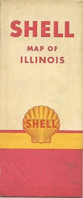 1950 Shell Oil Co Road Map Illinois Route 66 Springfield Peoria Rockford Chicago