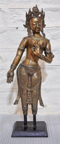 Antique Brass Lord Buddha Figurine Statue Large Size Original Old Fine