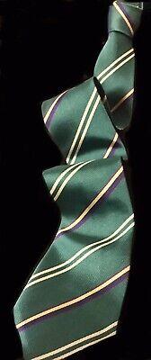 "1940s Mens Ties | Wide Ties & Painted Ties VTG. JEAN PATOU TIE Paris France Green w/Purple Silver Gold Stripes 3 ¼""w MINT $28.00 AT vintagedancer.com"