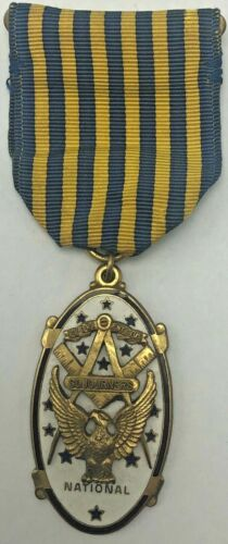 Vintage Masonic National Sojourners Medal Pin with Ribbon
