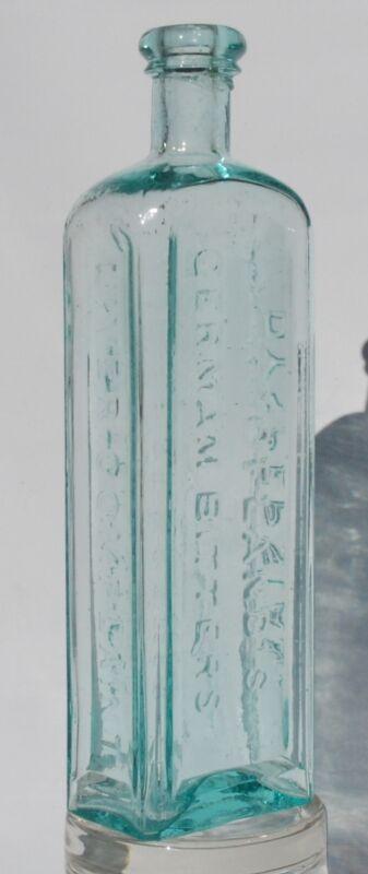 "DR. HOOFLANDS GERMAN BITTERS C.M. JACKSON AQUA BOTTLE SCARCE 9"" TALL SIZE"