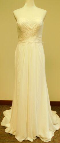 Strapless Chiffon Sheath Lace Sweetheart Wedding Dress Ivory Size 10 (40-30-37)