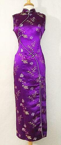 Classic Traditional Asian Chinese Cheongsam Qipao Dress with Plum Flower print