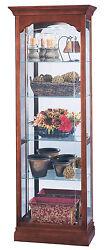 Howard Miller 680-340 (680340) Portland Lighted Curio Cabinet - Windsor Cherry