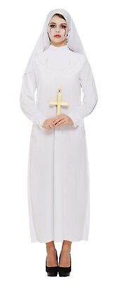 Ladies White Nun Costume Plus Size Fancy Dress Halloween Outfit Ghost 16-20 NEW (Nun Halloween Outfit)