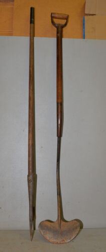 2 antique whaling tools iron flensing cutter gaff hook collectible early tools