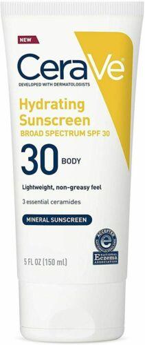 CeraVe 100% Mineral Sunscreen SPF 30 Body Hydrating Sunscreen, 5oz (150ml) 03/21