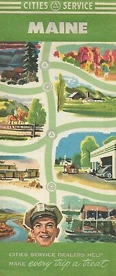 1950 CITIES SERVICE Road Map MAINE Portland Quebec Nova Scotia New Brunswick
