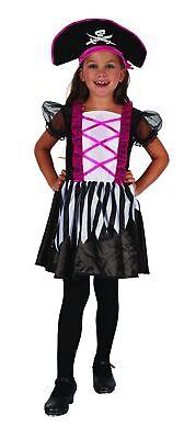 Süßes Piratinnen Mädchenkostüm schwarz-weiß-pink Cod.221883 ()