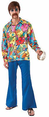 60s Costume Men (Mens Hippie Groovy Go Go Shirt  60's 70's Disco Costume Size)