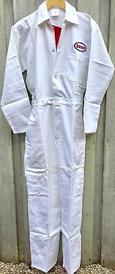 """RARE Goodwood Revival Classic Vintage Style White Esso Badged Overalls 36"""" Chest"""